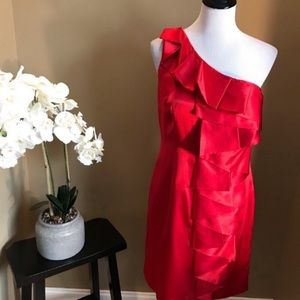 Calvin Klein Red One Shoulder Cocktail Dress